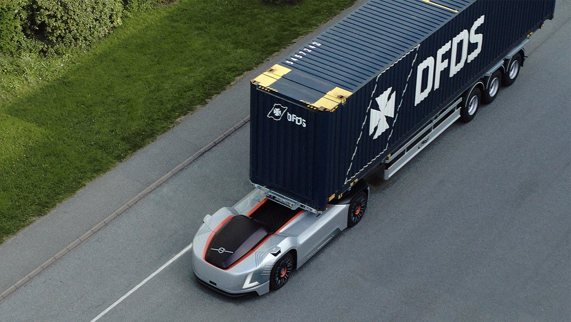 Vera transporting a container on a public road in Gothenburg