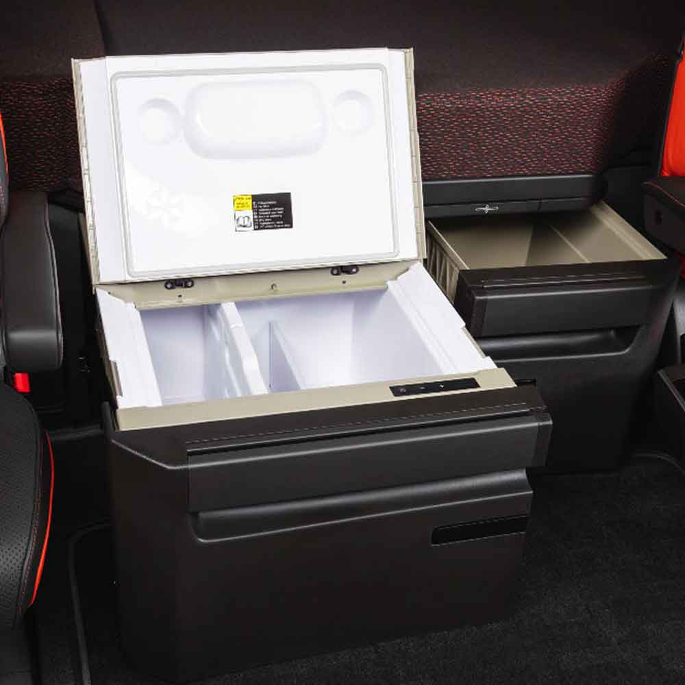 Optional second fridge and additional storage for long-haul living